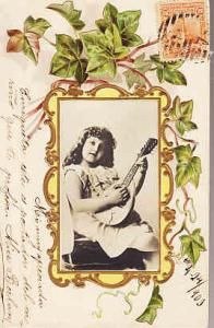 Uruguay Photo of Little Girl with Mandolin 1909