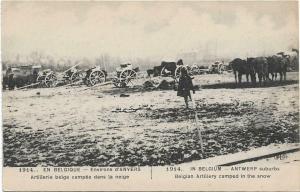 WW1 In Belgium Antwerp suburbs Belgian artillery camped 01.30