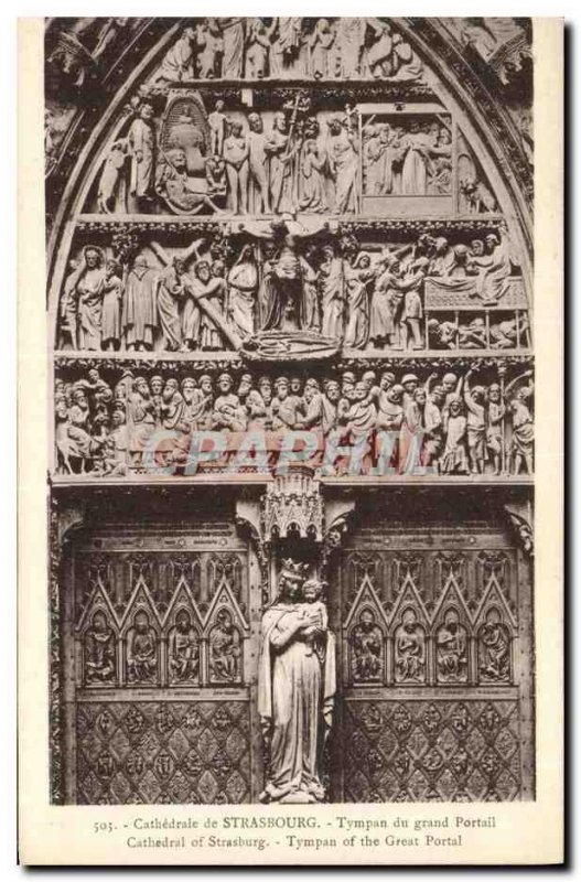 Old Postcard From Strasbourg Cathedral Eardrum of the Grand Portal