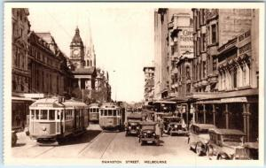MELBOURNE, AUSTRALIA  Busy SWANSTON STREET Scene  Cars, Trolleys 1920s Postcard