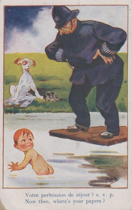 French Policeman Arrests Child Swimmer Antique France Comic Humour WW1 Postcard