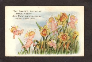 May Easter Greetings Postcard Sunshine Gladness Cupids Flowers Vintage PC