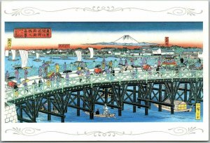 Japan Japanese Art Postcard The View of Ryogoku-bashi Bridge Hiroshige Rissai
