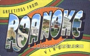 Roanoke, Virginia USA Large Letter Town Vintage Postcard Old Post Card Antiqu...