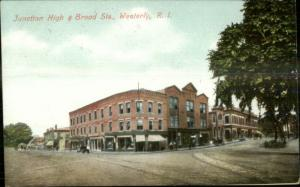 Westerly RI Junction of High & Broad c1910 Postcard