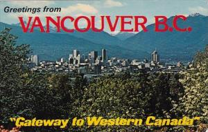 Greetings From Vancouver Brish Columba Gateway To Western Canada