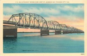 Panama City Florida~Hathaway Bridge Over West Street~Andrews Bay~1940s Linen PC