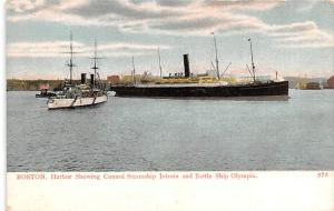 White Star Line Cunard Ship Post Card, Old Vintage Antique Postcard Boston, H...