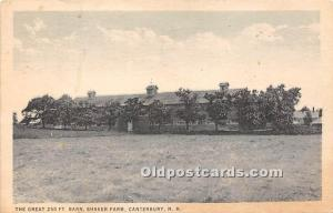 Old Vintage Shaker Post Card The Great 250ft Barn Farm, Canterbury, New Hamps...