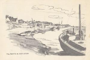 The Boats at Old Leigh On Sea Vintage 1970s Shipping Artist Drawing Postcard