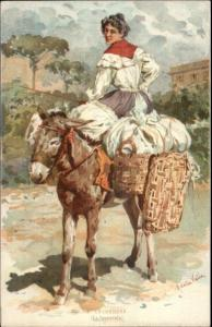 Italy Native Street Life Costumes Aidella Valle PC Woman Laundry Donkey c1900
