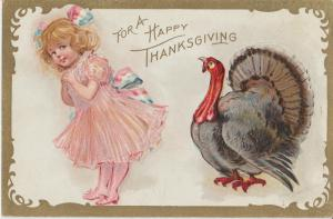 For A Happy Thanksgiving Postcard Antique Holiday Embossed