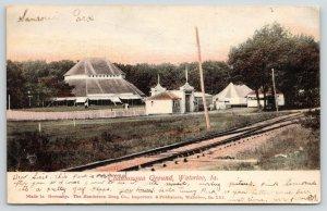 Waterloo Iowa~Chautauqua Ground Gate~Trolley Entrance~Tent~Picket Fence~1906