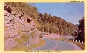 Muldraughs Hill Kentucky~Bluffs Along US Highway 31E~1940s Kodachrome Postcard
