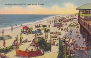 Florida Lake Worth Bathing Beach Scene 1946
