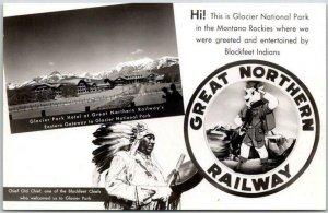 GREAT NORTHERN RAILWAY Advertising Photo RPPC Postcard / Glacier National Park