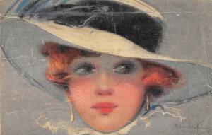 Vintage Fashion Glamorous Lady Woman Fancy Hat, Hamilton King Signed Postcard