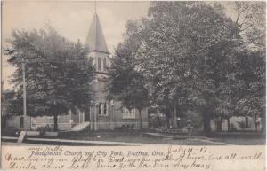 BLUFFTON Ohio Postcard Allen County Lima c1910 PRESBYTERIAN CHURCH CIty Park #8