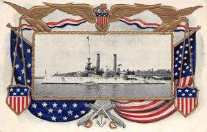 USS Iowa US Navy Battleship Ship 1910c patriotic bordered postcard