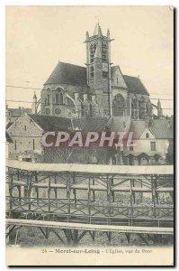 Old Postcard Moret sur Loing Church view of the bridge