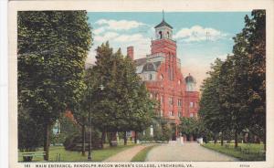 Main Entrance, Randolph-macon Woman's College, Lynchburg, Virginia, PU-1939