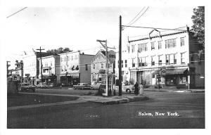Salem NY Street View Store Fronts Shell Gas Station Old Cars RPPC Postcard