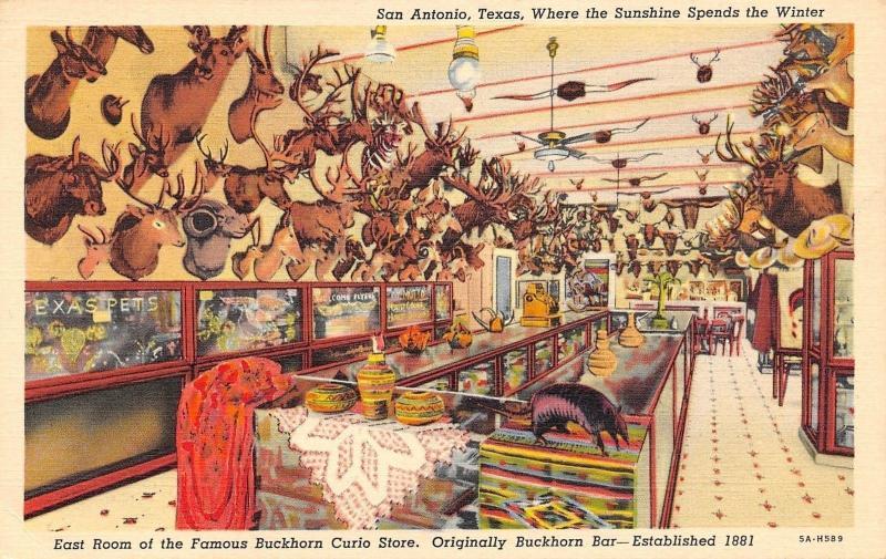 San Antonio Texas~East Room Of Famous Buckhorn Curio Store~1940 Postcard