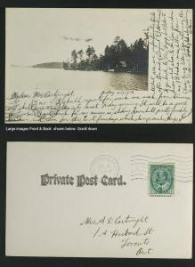 Peterborough ON real photo cottage on Lake postmarked 1906