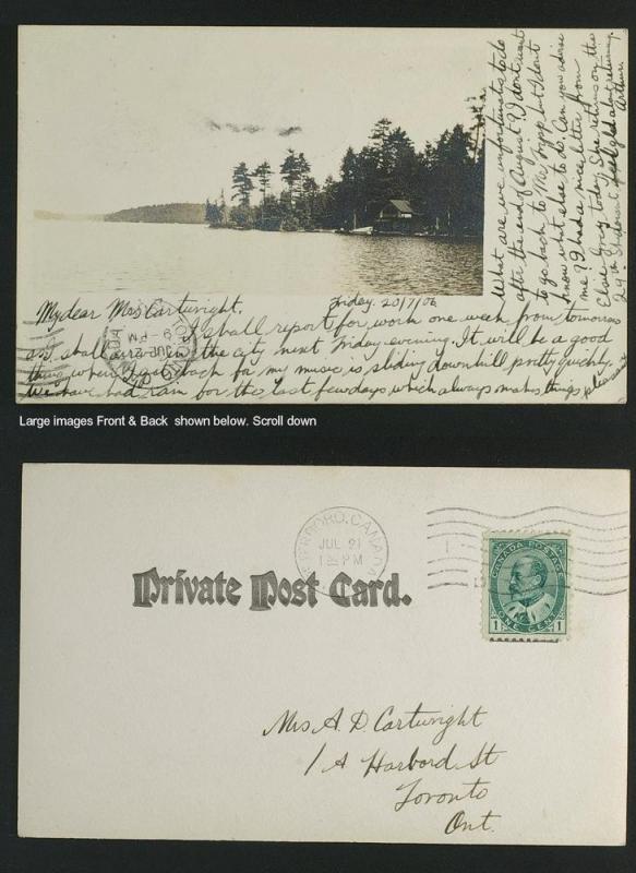 Peterborough ON real photo cottage on Lake postmarked 1906