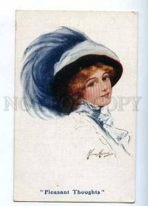 202926 Pleasant Thoughts BELLE Lady in HAT Vintage B.K.W.I. PC