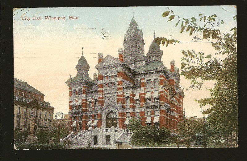 Postmark 1911 Niagara Falls City Hall Winnipeg Valentine Postcard