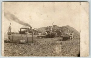 Farmers~Steam Thresher~Advertise Umbrella~Occident Flour~Weir's Coffee~1908 RPPC