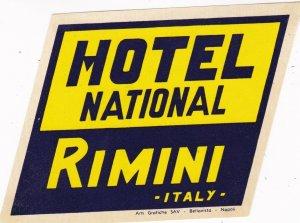 Italy Rimini Hotel National Vintage Luggage Label lbl0384