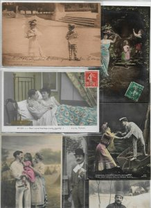 Jugendstil Romantic, Woman, Kids, Men RPPC Postcard Lot of 23 01.11