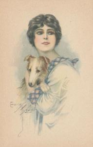ART DECO ; Female with young Afghan Hound Dog, 1910-20s