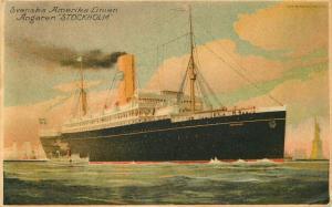 1926 Svenska-Amerika Streamship Line Angaren Stockholm Ocean Liner Postcard