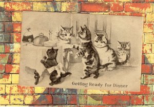 Getting Ready For Dinner Early Postcard Cats / Cute Kittens Art Unsigned