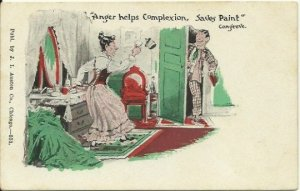 Antique Undivided Back UB Postcard Comic by J. I. Austen Chicago Anger Helps