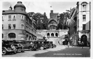 Portugal Halsingborg Karnan ooh Terrassen Vintage Cars Cyclists Postcard