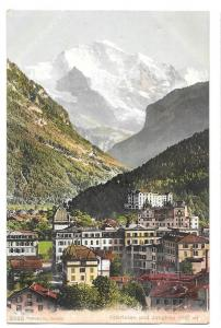 Switzerland Interlaken Jungfrau Swiss Alps Vintage Postcard