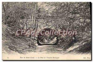Old Postcard Parc de St Cloud Bridge Slice Mountain