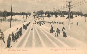 1905 Postmark On Canada Sport Series Postcard. Tobaggan track On Mount Royal