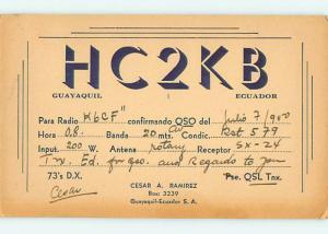 vintage QSL HAM RADIO CARD Guayaquil ECUADOR t1812
