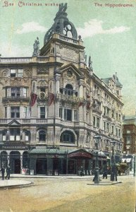 Colour Postcard with Christmas Greeting 'The Hippodrome'
