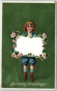 Vintage 1909 BIRTHDAY GREETINGS Postcard Girl Holding Empty Blank Message Area