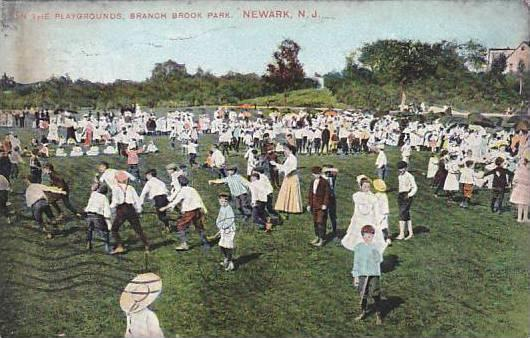 New Jersey Newark On The Playgrounds Branch Brook Park 1908