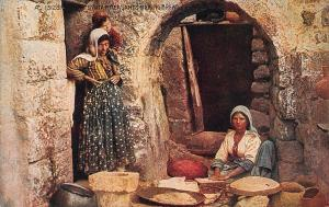 Syrian Peasants Making Bread Postcard