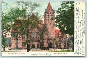 Rochester New York~Temple Berith Kodesh~Houses Behind~1907 Postcard