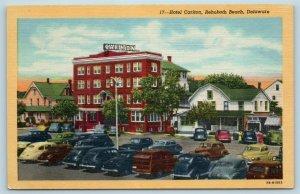 Postcard DE Rehoboth Beach Delaware Hotel Carlton Old Cars X5