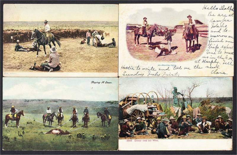 Cowboys in the West Lot of 12 Postcards 1900s-1920s